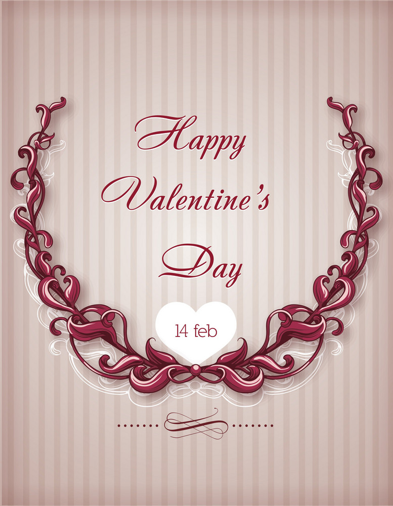 Valentine's Day Vector Illustration With Floral Laurel