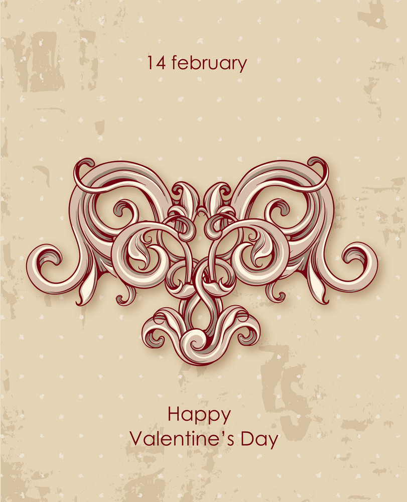 Valentine's Day Vector Illustration With Flower Hart