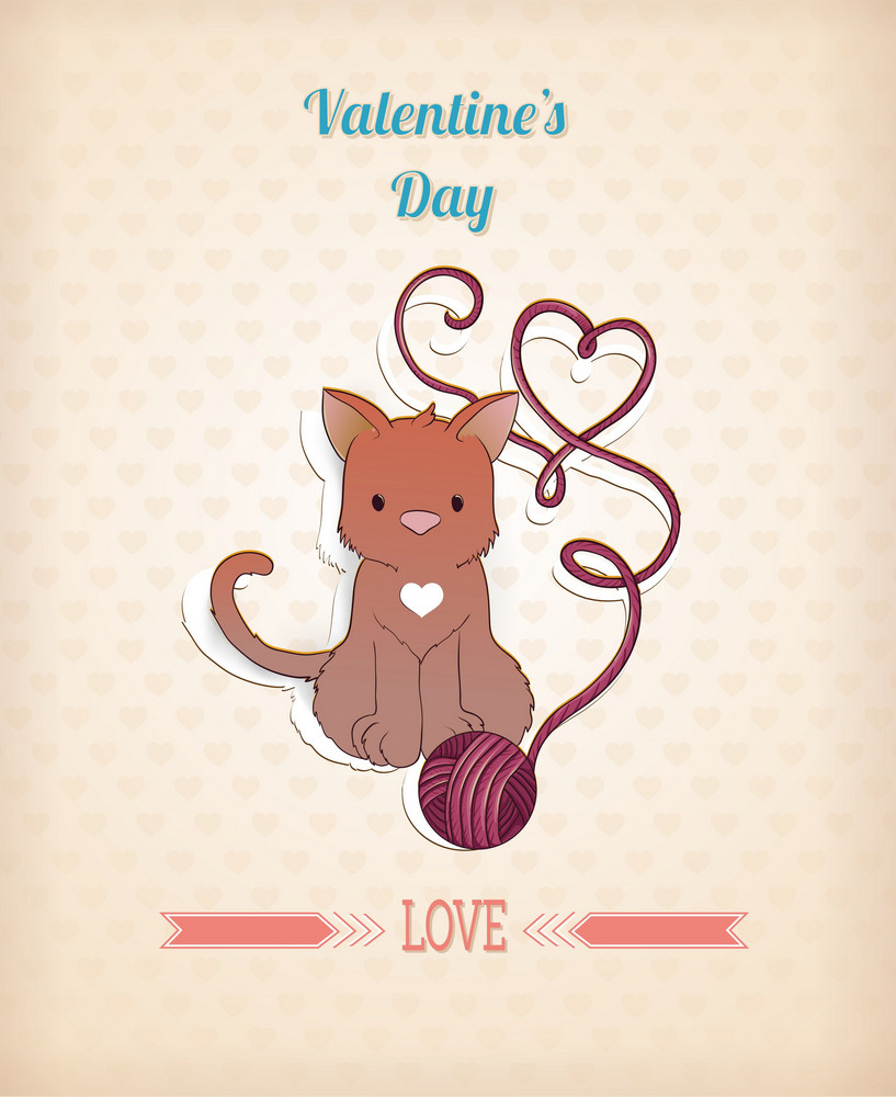 Valentine's Day Vector Illustration With Little Cat