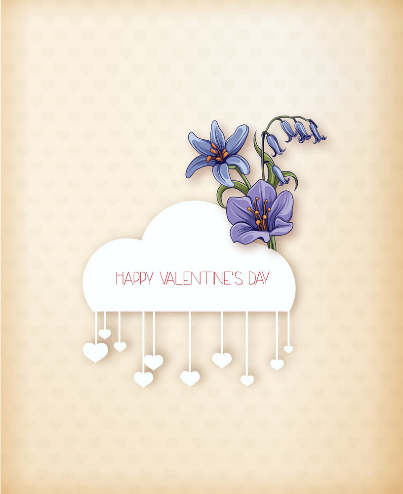 Valentine's Day Vector Illustration With Paper Hart And Cloud