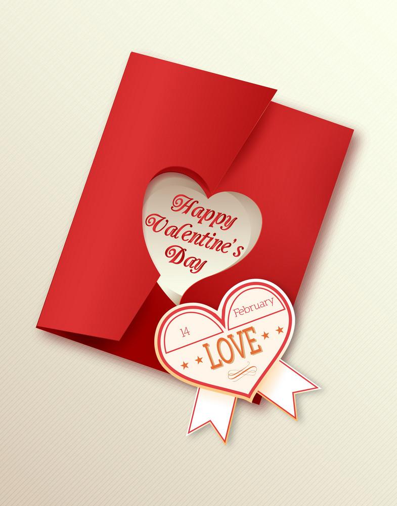 Valentine's Day Vector Illustration With Sticker Hart
