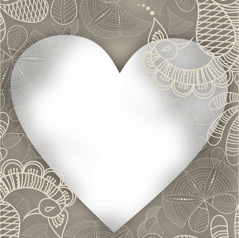 Valentines Day      With Grey Blank Heart On Elegant Flal Decated Background