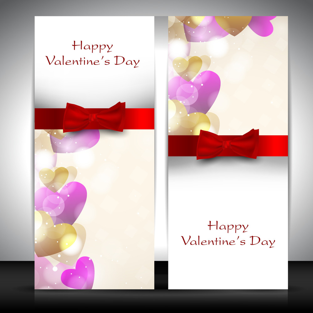 Valentines Day   With Hearts And Red Ribbon   Love Background