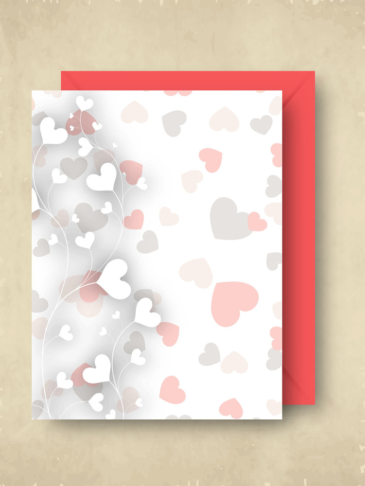 Valentines Day   With Hearts Design And Pink Envelope