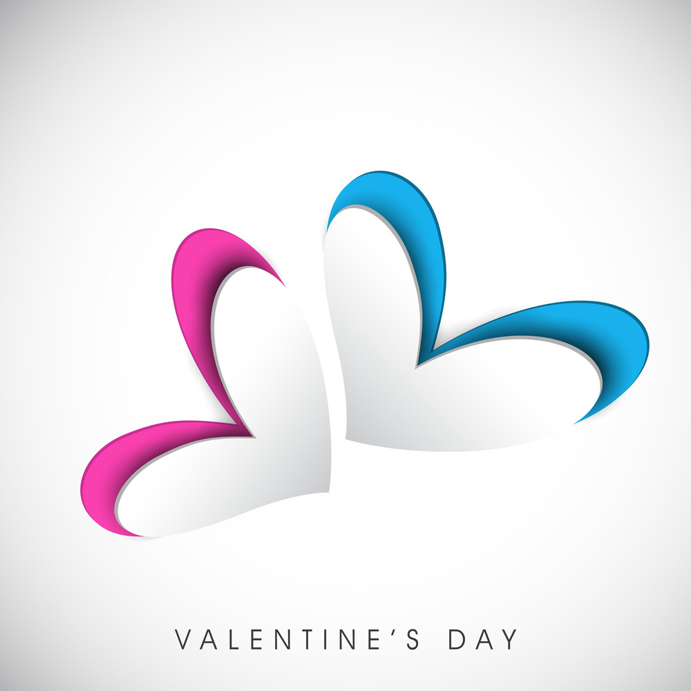 Valentines Day      With Pink And Blue Hearts On Grey Background