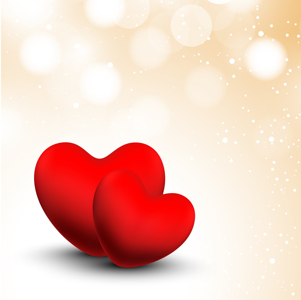 Valentines Day      With Two Red Valentines Hearts On Shiny Background
