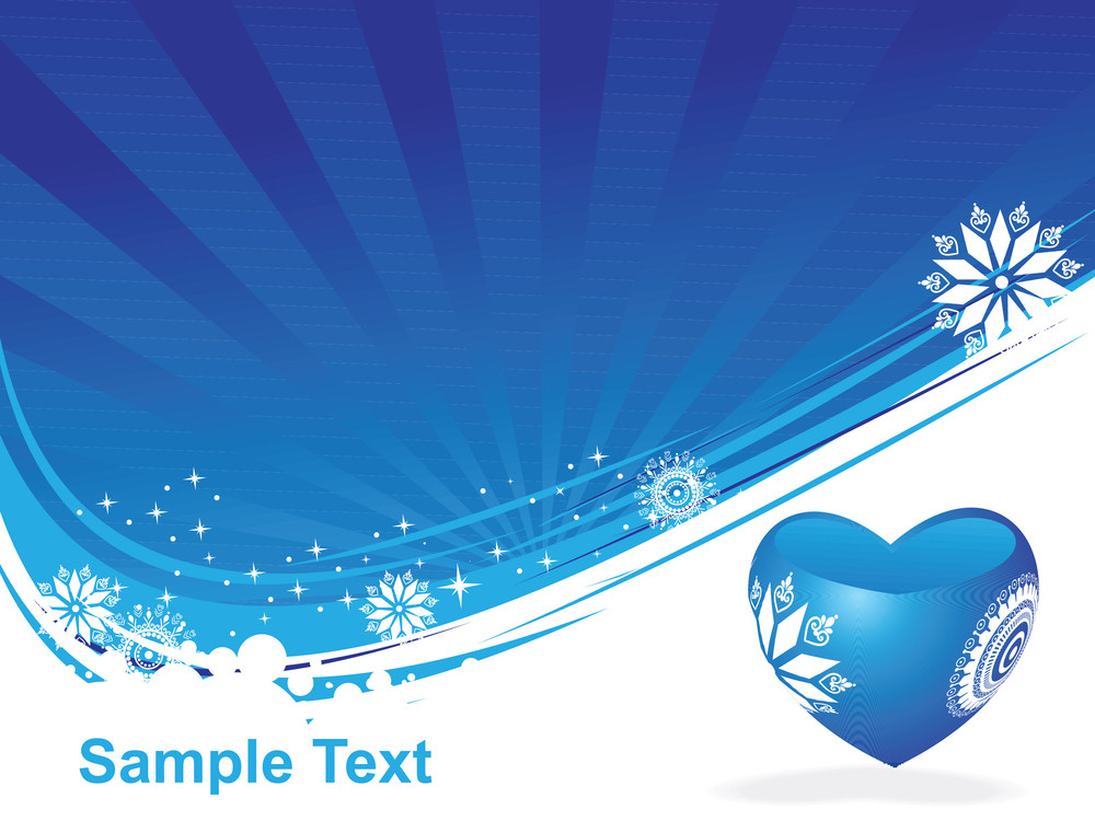 Valentines Heart And Snowflake On Blue