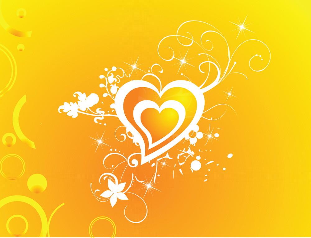 Valentines Heart-shape With Shining Stars Illustration