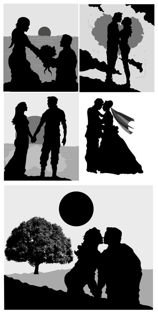 Valentines Silhouettes Vectors