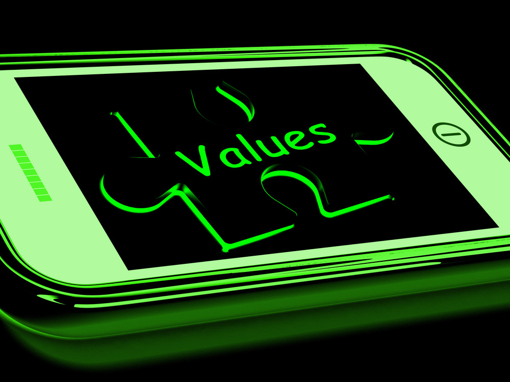 Values On Smartphone Showing Principles