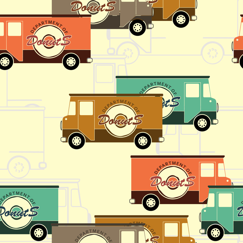 Van Seamless Pattern. Vector Illustration