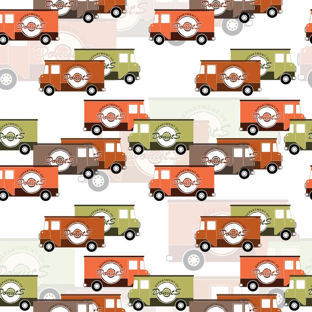 Van Seamless Pattern. Vector Illustration
