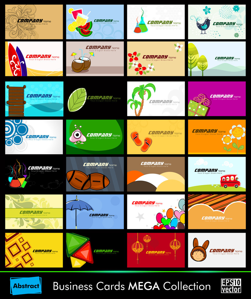 Variety Of 28 Detailed Horizontal Colorful Abstract Business Cards Collection On Different Topics. Vector Illustartion Eps10.