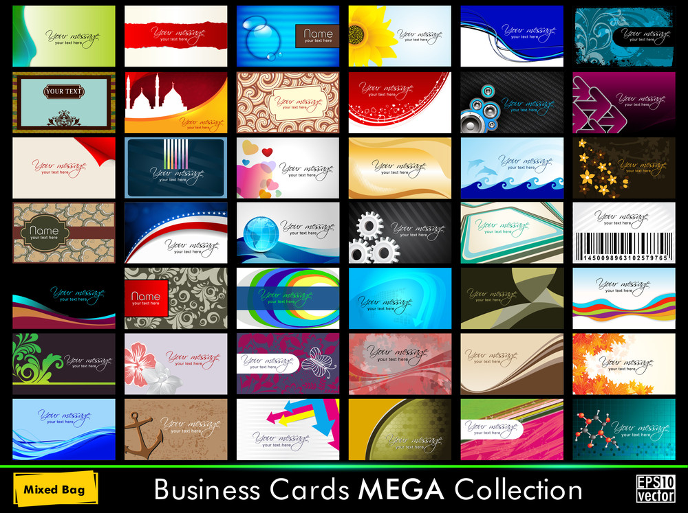 Variety Of 42 Detailed Horizontal Colorful Abstract Business Cards Collection On Different Topics. Vector Illustartion Eps10.