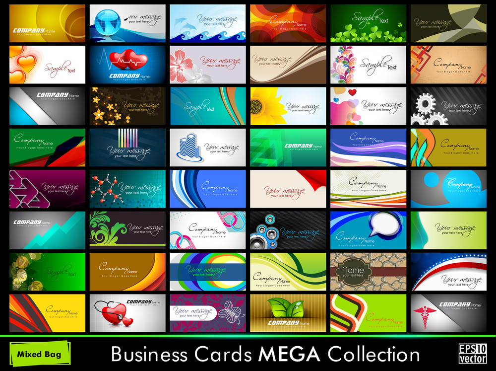 Variety Of 48 Detailed Horizontal Colorful Abstract Business Cards Collection On Different Topics. Vector Illustartion Eps10.