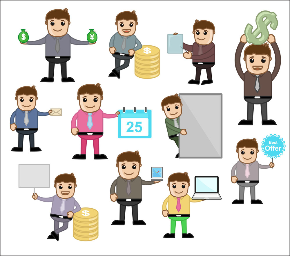 Various Concepts & Poses - Office And Business Cartoon Character Vector Illustration