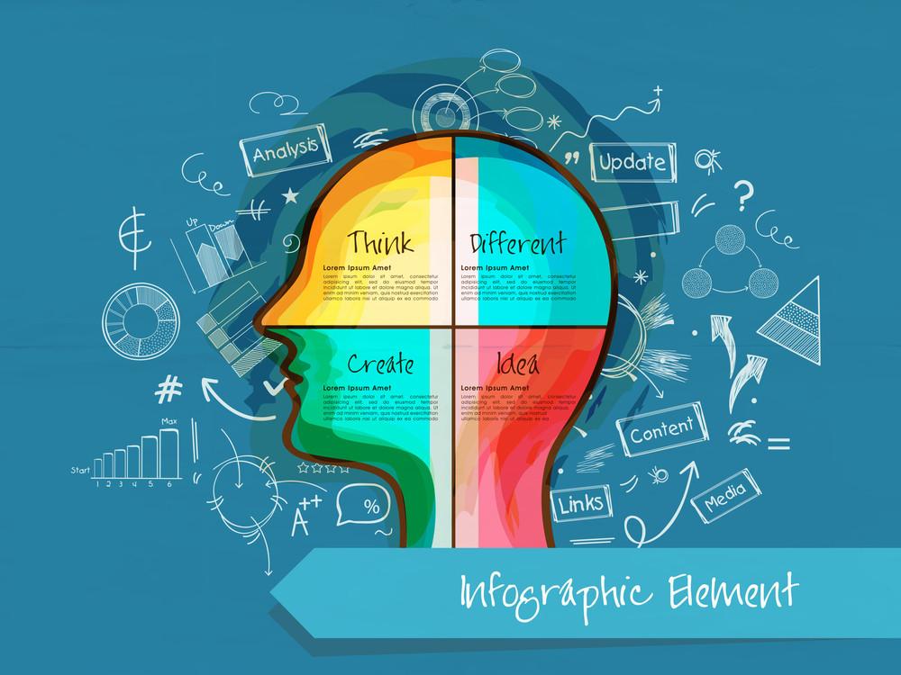 各種信息圖表元素與人體的頭五顏六色的插圖藍色背景想法的概念。
