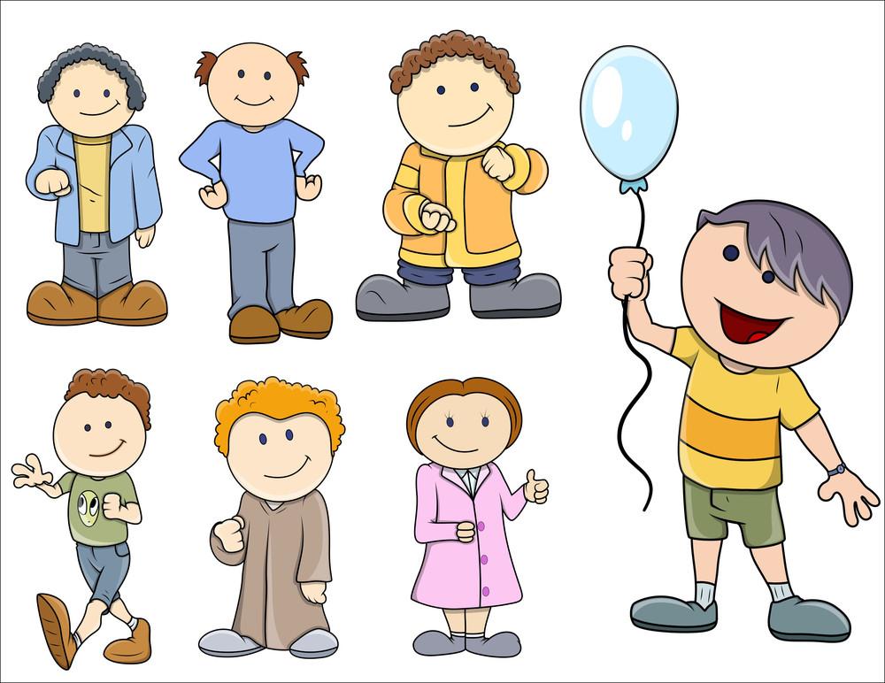 Various Kids Vector Illustration In Cartoon Style