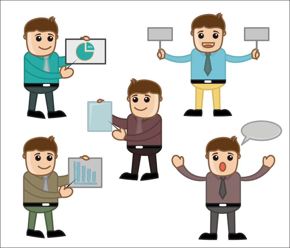 Various Poses - Office And Business People Cartoon Character Vector Illustration Concept