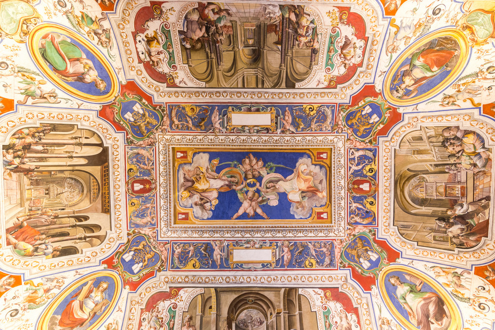 VATICAN - JUNE 09, 2014: The ceiling in one of the rooms of Raphael (Stanze di Raffaello) in the Vatican Museum, Rome, Italy.