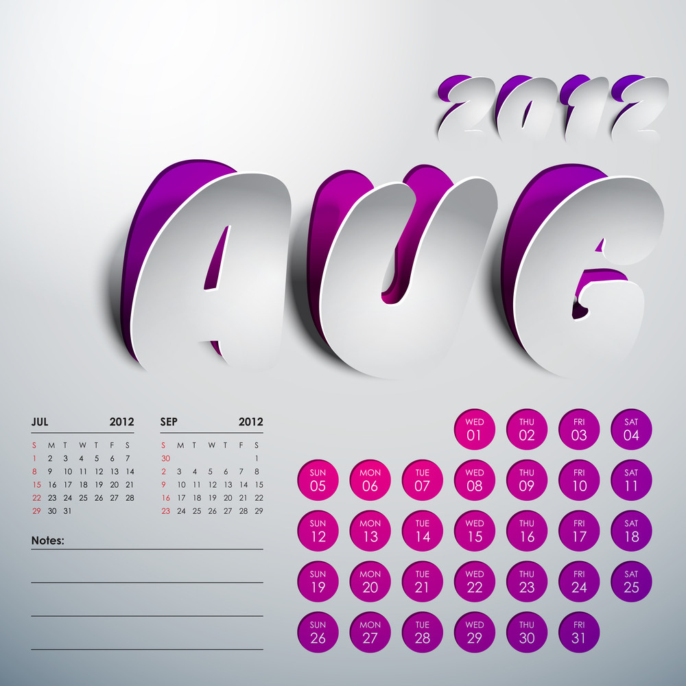 Vector 2012 Calendar Design - August
