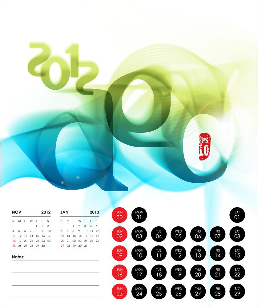 Vector 2012 Calendar Design - December