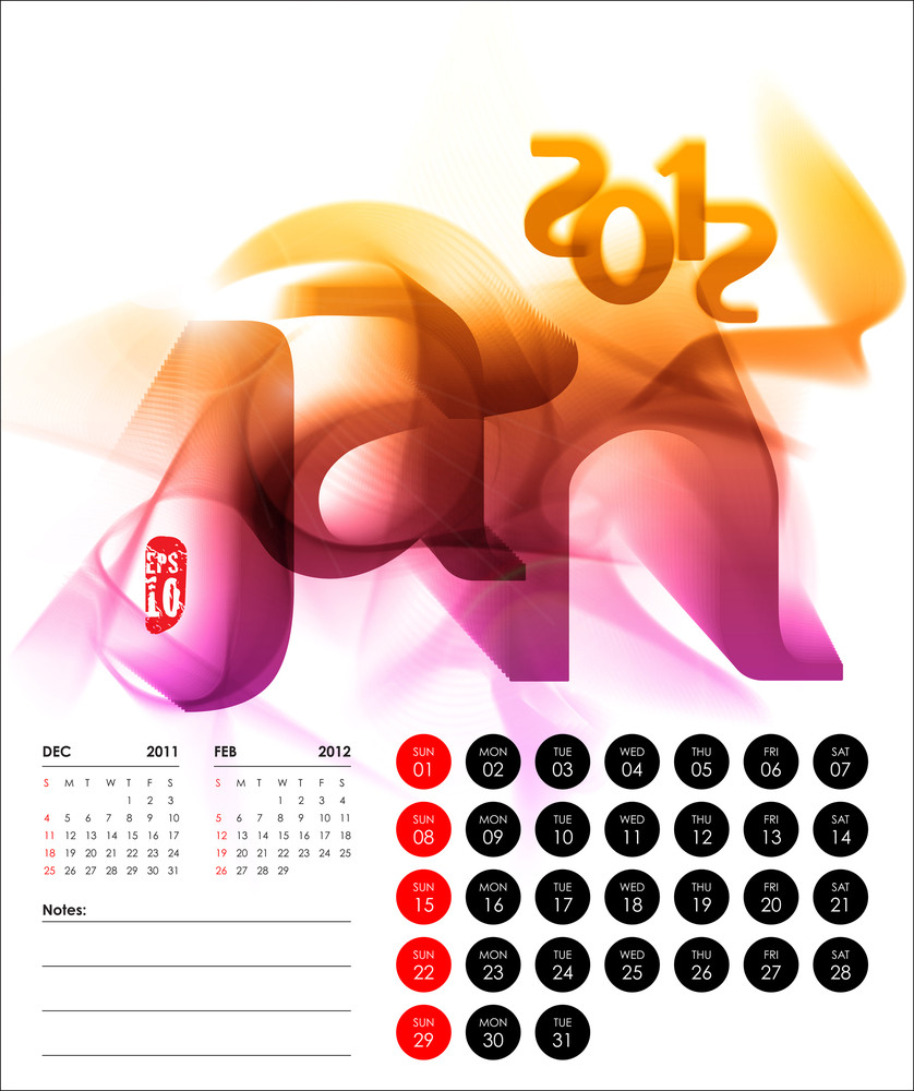 Vector 2012 Calendar Design - January