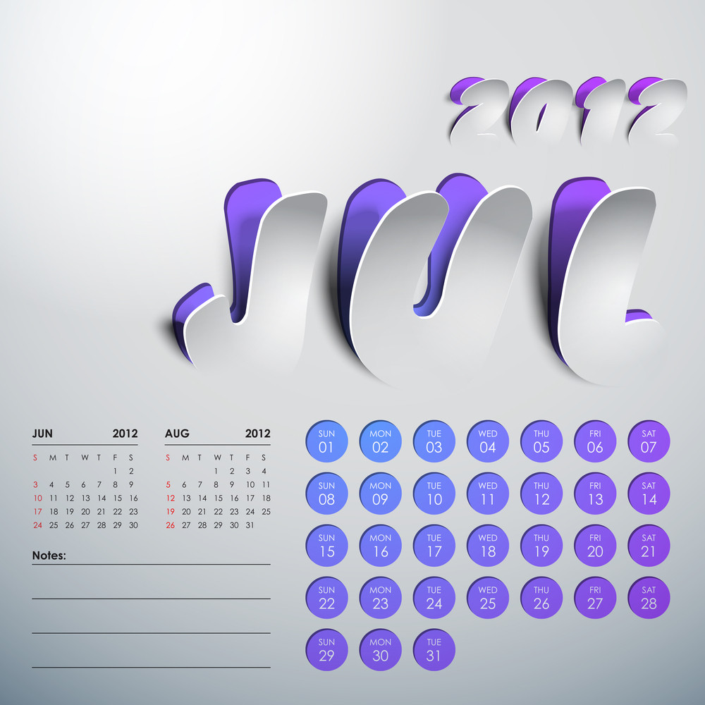 Vector 2012 Calendar Design - July