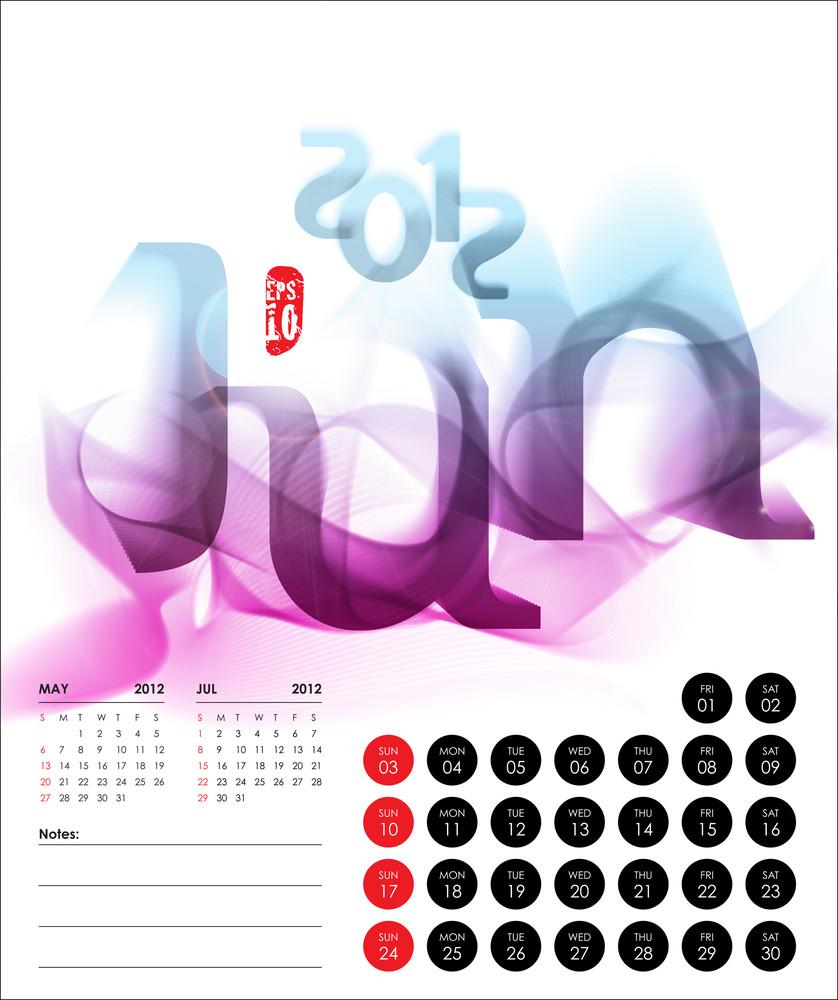 Vector 2012 Calendar Design - June