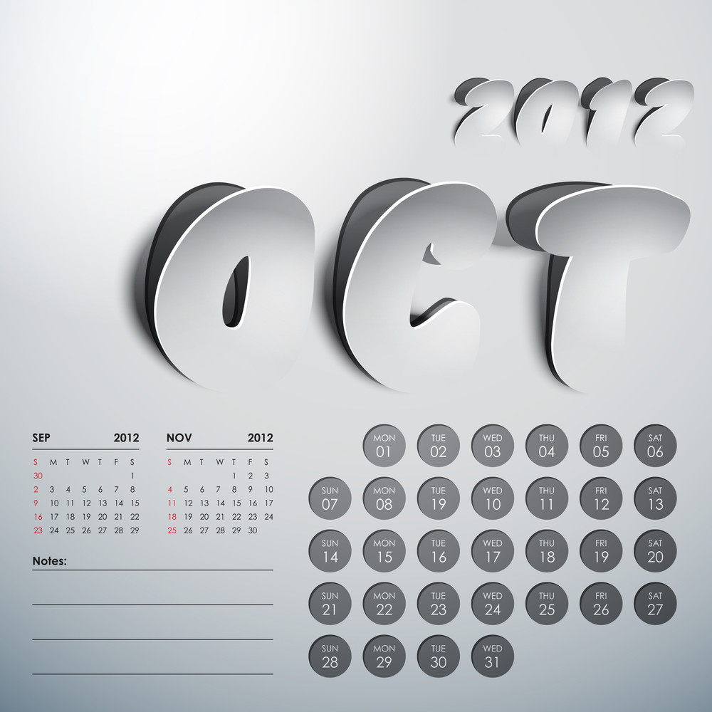 Vector 2012 Calendar Design - October