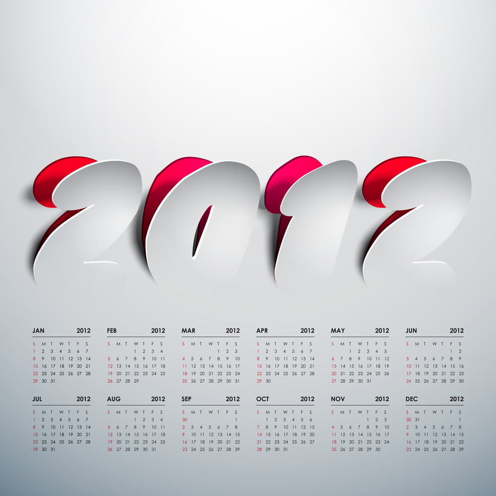 Vector 2012 Calendar Design - Peeled Off Stickers