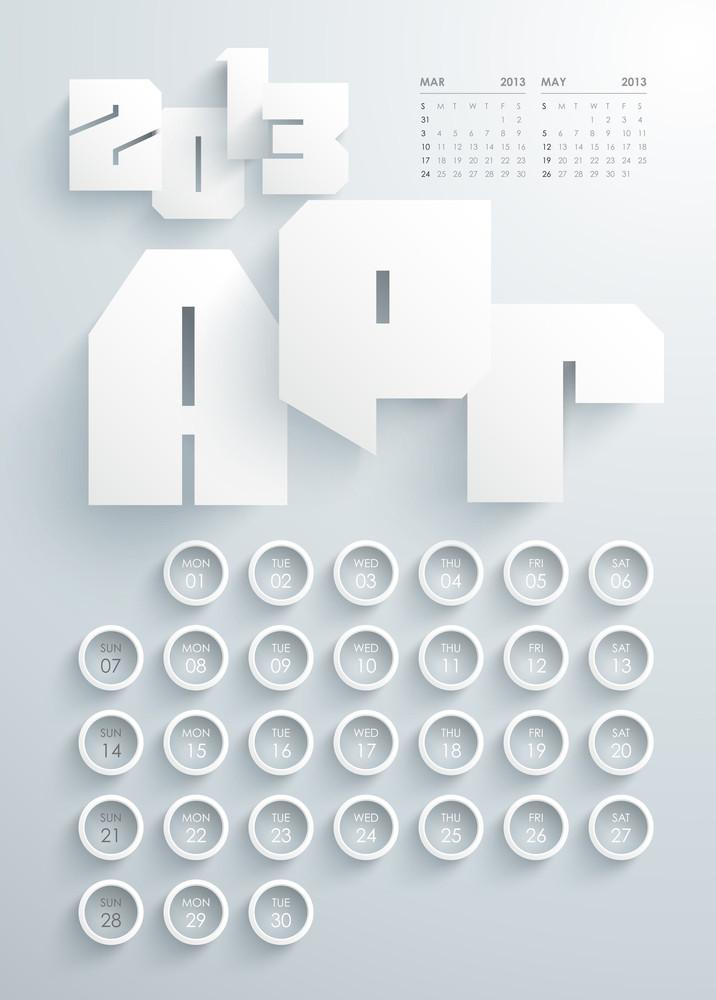 Vector 2013 Calendar Design - April