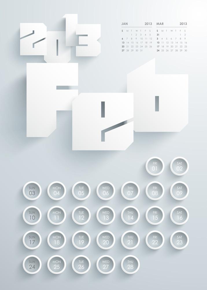 Vector 2013 Calendar Design - February