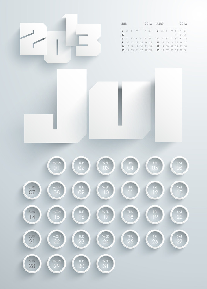 Vector 2013 Calendar Design - July