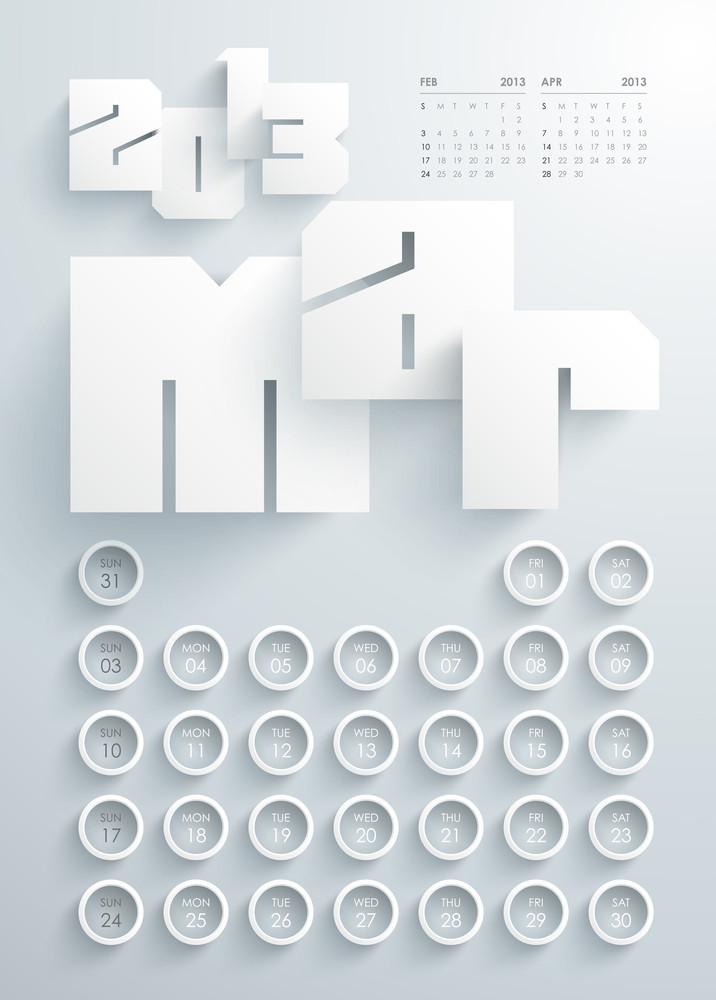 Vector 2013 Calendar Design - March