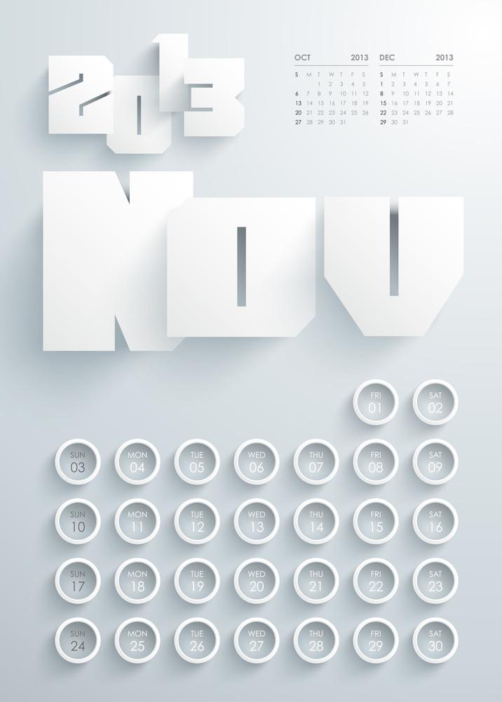 Vector 2013 Calendar Design - November