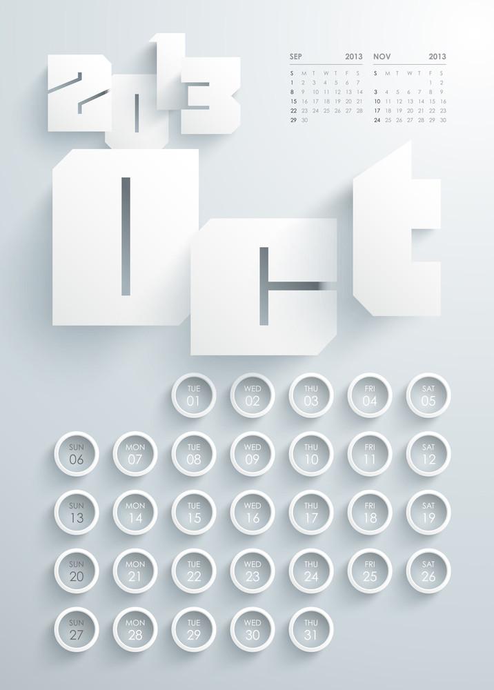 Vector 2013 Calendar Design - October
