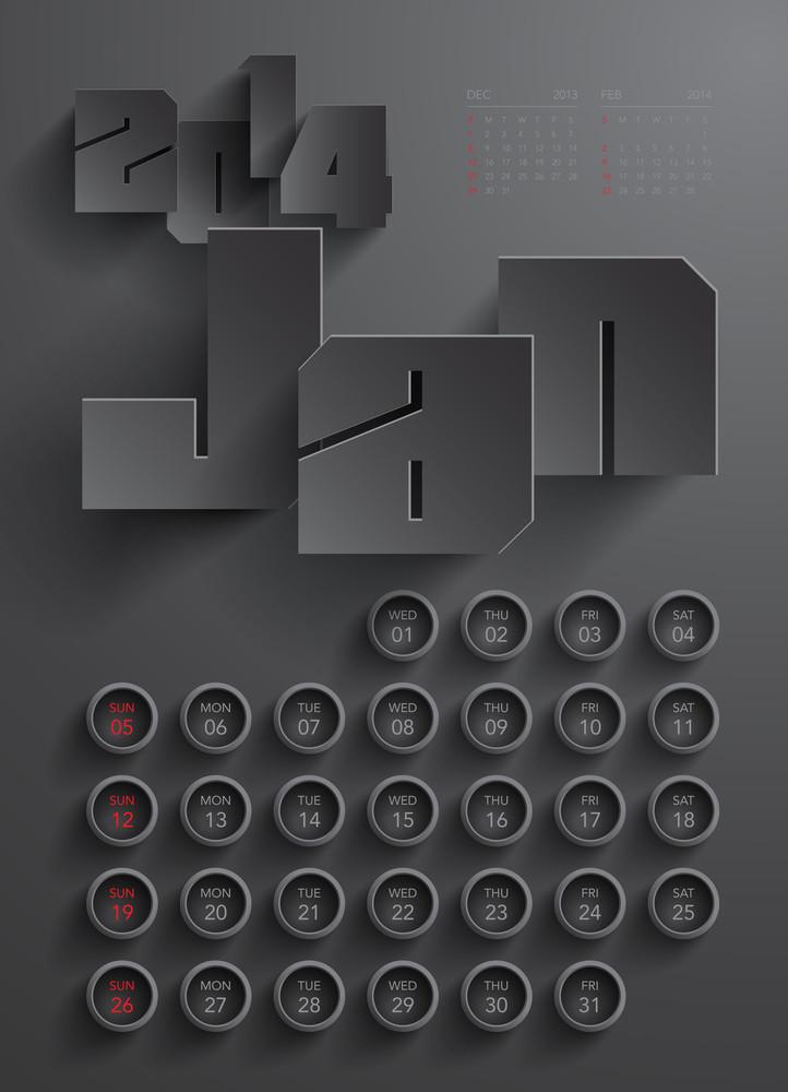 Vector 2014 Calendar Design - January