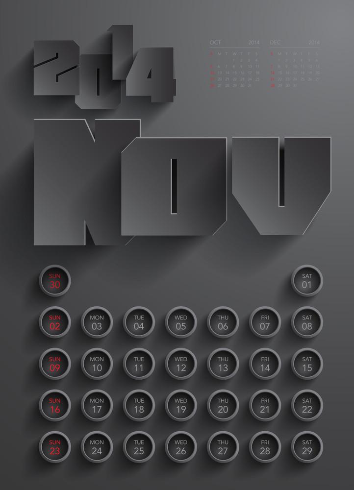 Vector 2014 Calendar Design - November