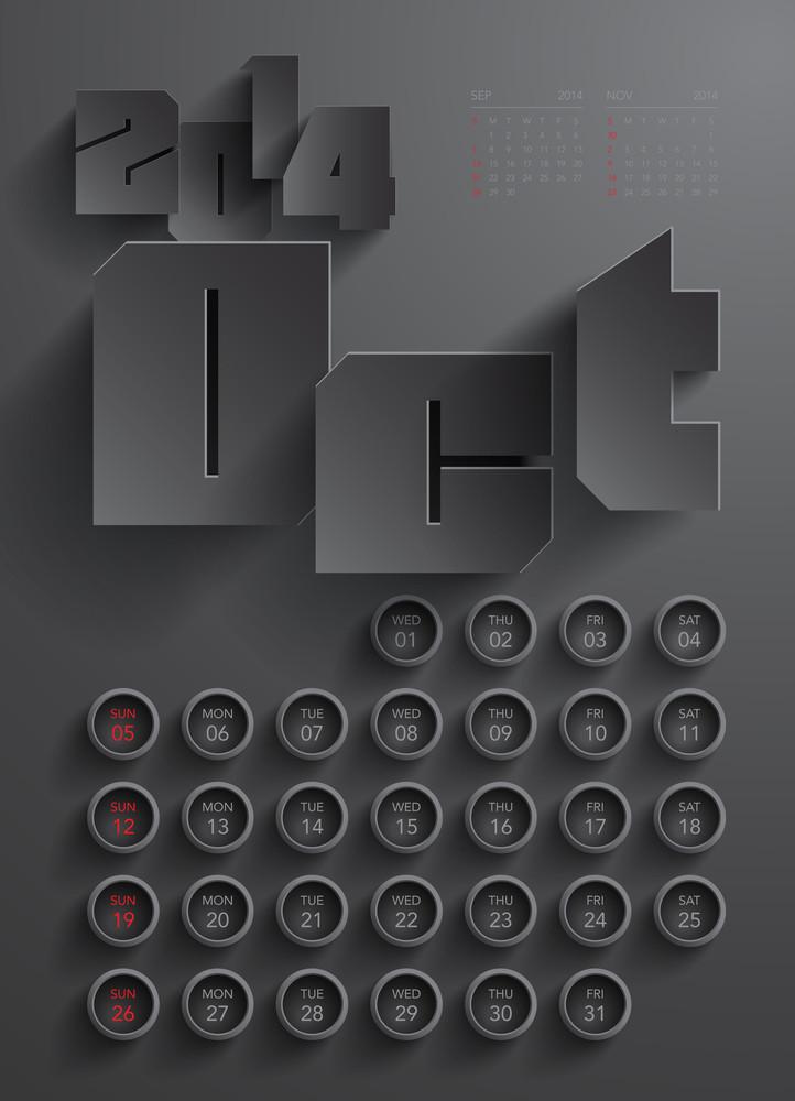 Vector 2014 Calendar Design - October