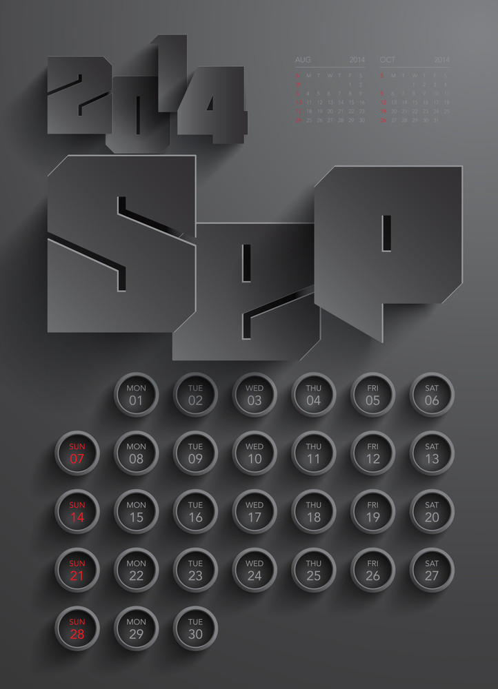 Vector 2014 Calendar Design - September