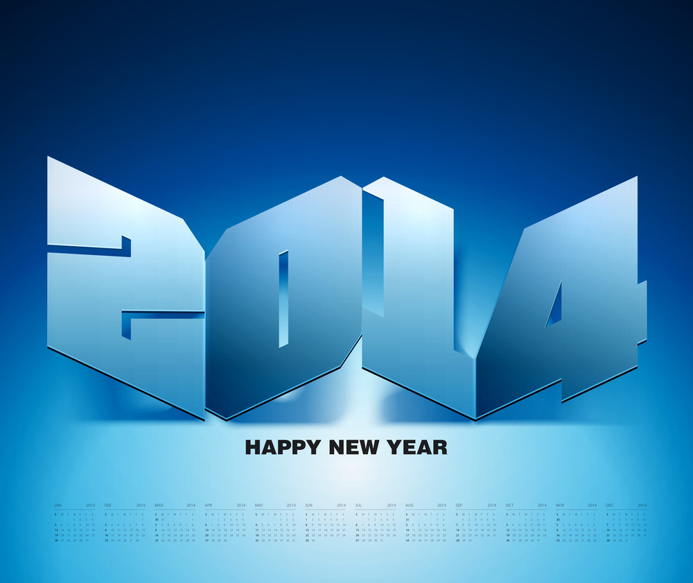 Vector 2014 Paper Graphics With Calendar