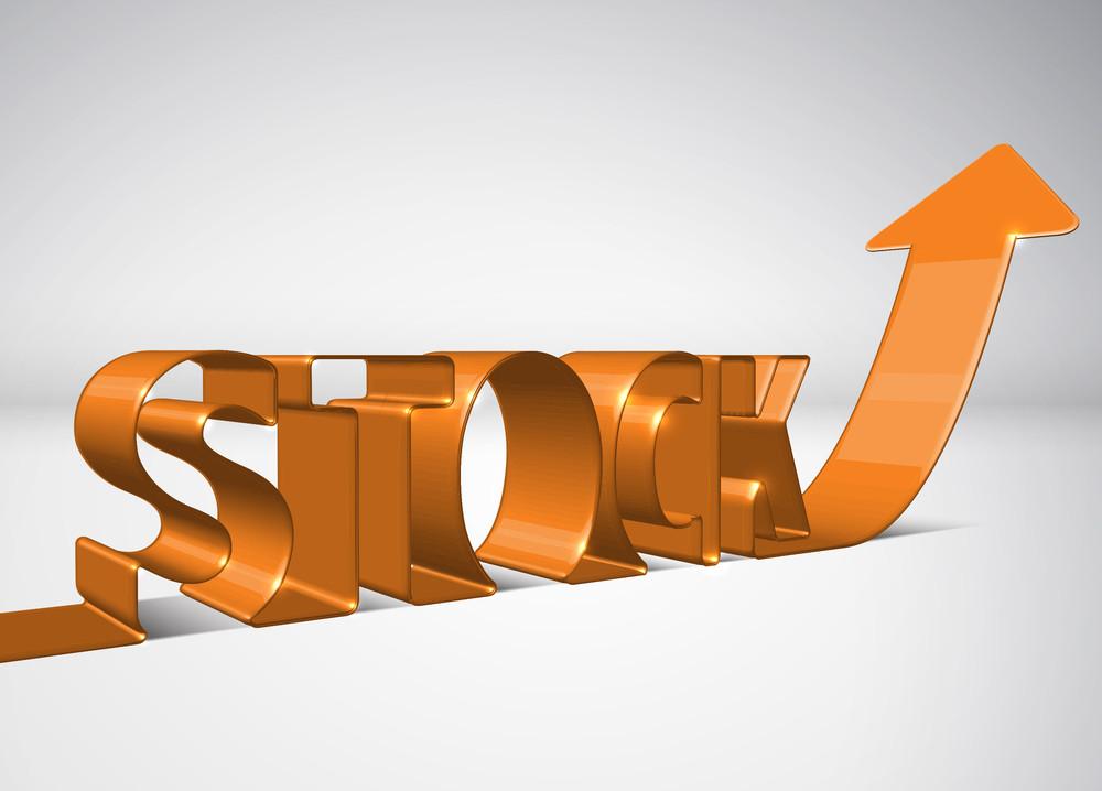 Vector 3d Arrow Moving Upward With Stock
