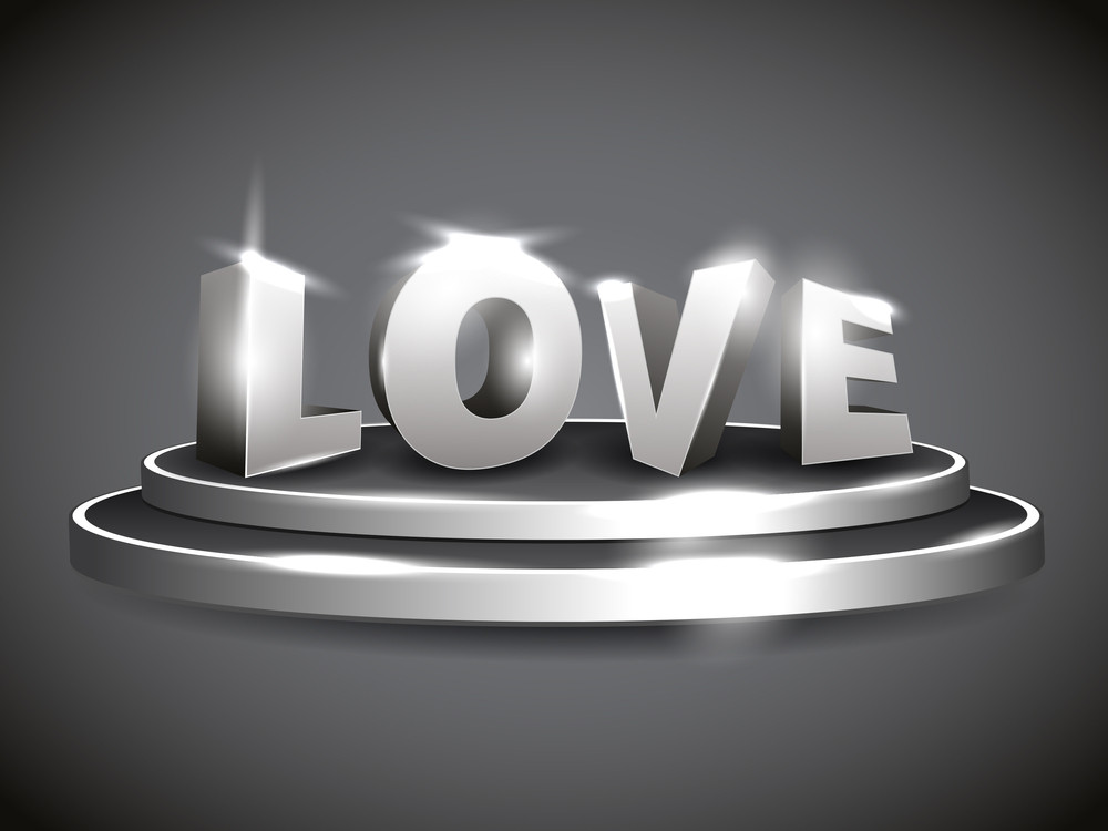 Vector 3d Love Text At Glossy Stage With Shinning