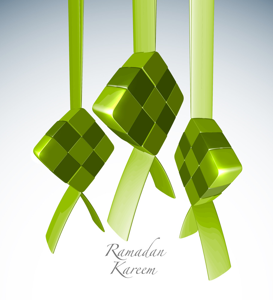 Vector 3d Muslim Ketupat. Translation: Ramadan Kareen - May Generosity Bless You During The Holy Month