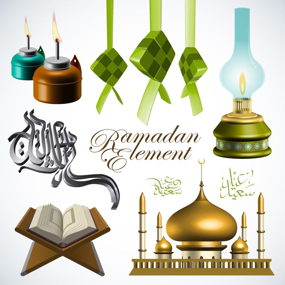 Vector 3d Ramadan Element. Translation Of Jawi Text: Eid Mubarak