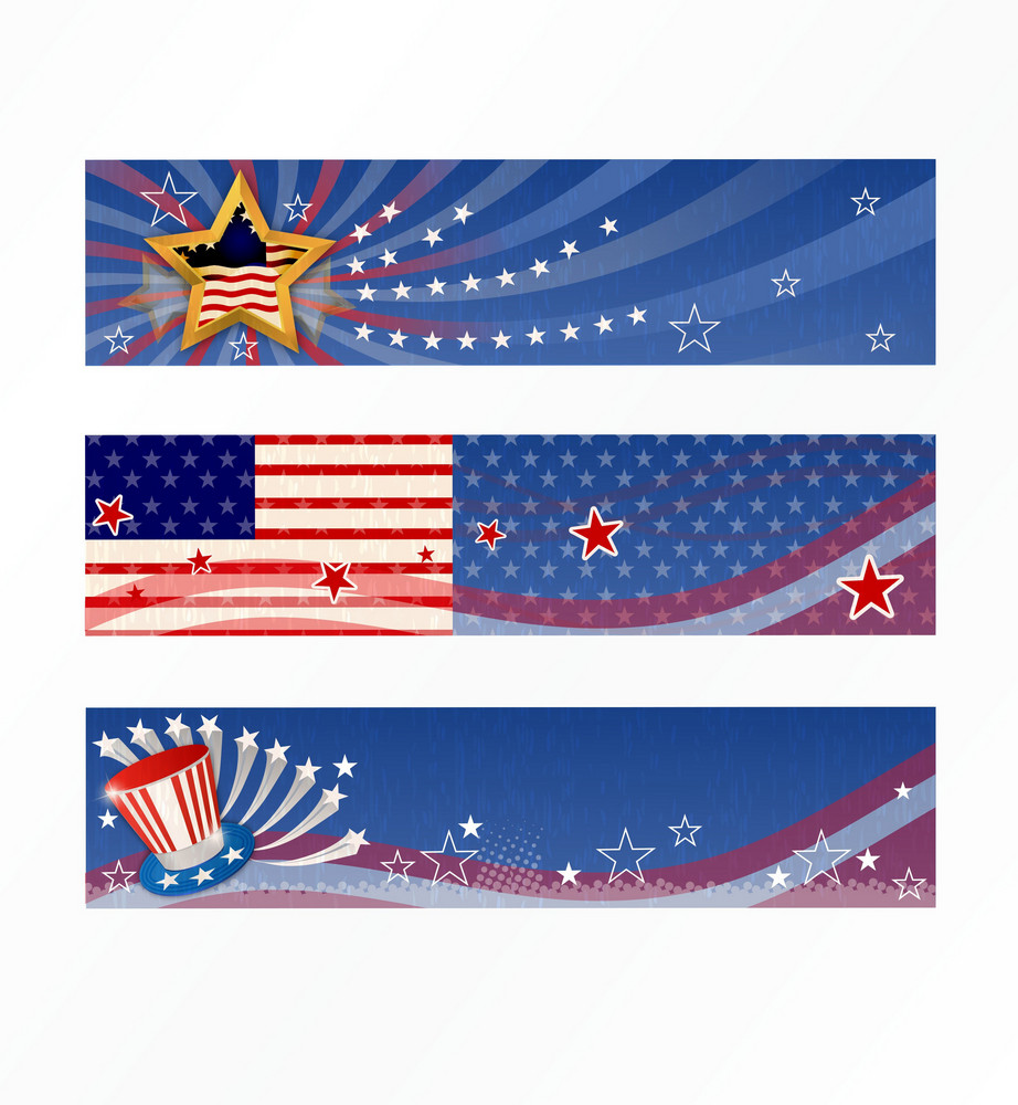 Vector 4th Of July Banners Set
