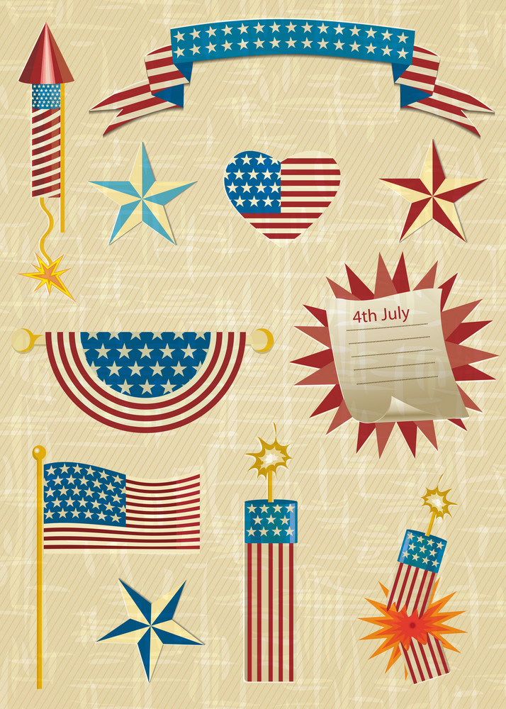 Vector 4th Of July Independence Day Elements