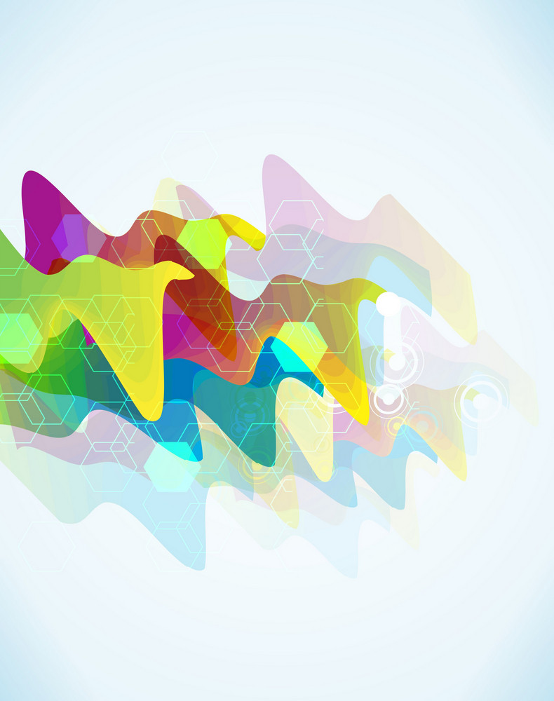 Vector Abstract Background With Colorful Waves