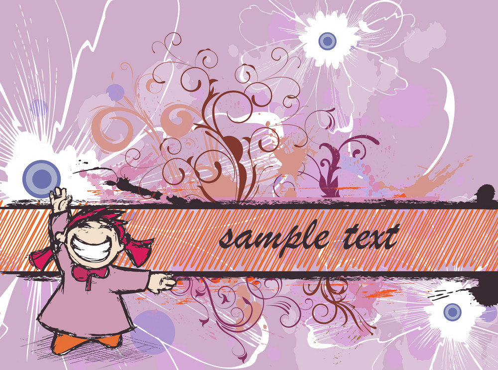 Vector Abstract Background With Cute Girl
